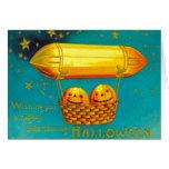 Jack O' Lantern Pumpkin Hot Air Balloon Greeting Card