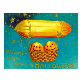 Jack O' Lantern Pumpkin Hot Air Balloon Postcard