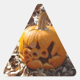 Jack o lantern pumpkin in leaves triangle sticker