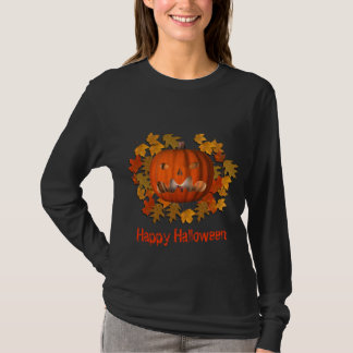 Jack O Lantern Pumpkin Leaves Halloween T-Shirt