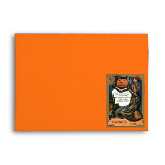 Jack O Lantern Pumpkin Pirate Woman Envelope