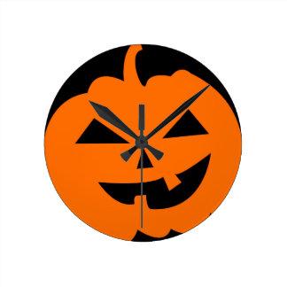 Jack O Lantern Pumpkin Round Clock