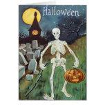 Jack O' Lantern Pumpkin Skeleton Cemetery Card