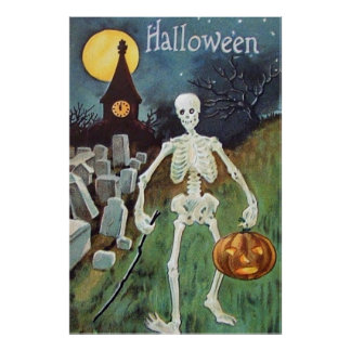 Jack O' Lantern Pumpkin Skeleton Cemetery Poster