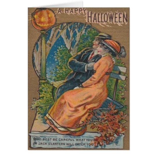 Jack O' Lantern Pumpkin Street Lamp Couple Card