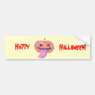 jack o lantern pumpkin tongue sticking out cartoon bumper sticker