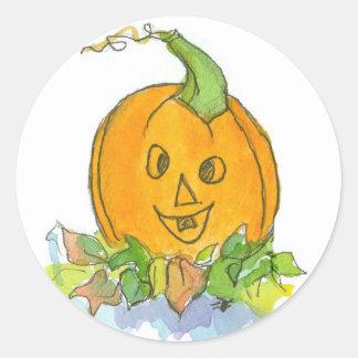 Jack-O-Lantern Pumpkin Watercolor Illustration Classic Round Sticker