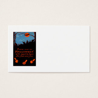 Jack O' Lantern Pumpkin Witch Bat Moon Business Card