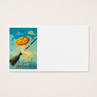 Jack O Lantern Pumpkin Witch Broom Stars Business Card