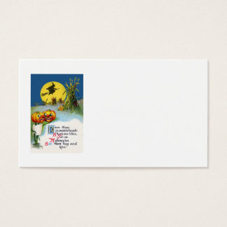 Jack O Lantern Pumpkin Witch Full Moon Haystack Business Card