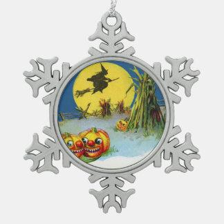 Jack O Lantern Pumpkin Witch Full Moon Haystack Snowflake Pewter Christmas Ornament