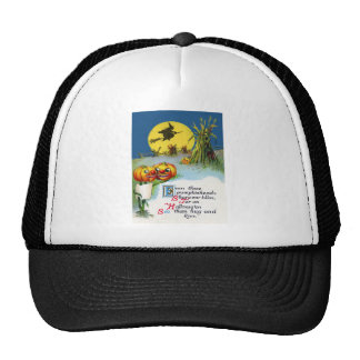 Jack O Lantern Pumpkin Witch Full Moon Haystack Trucker Hat
