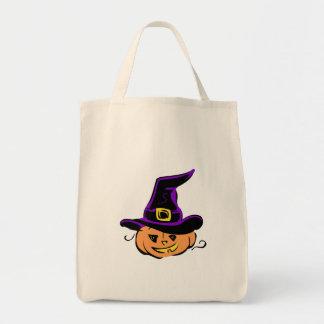 Jack O Lantern Pumpkin Witch Hat Tote Bag