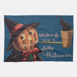 Jack O' Lantern Pumpkin Witch Pipe Hand Towels