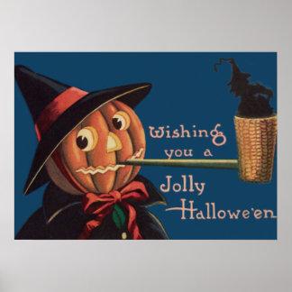 Jack O' Lantern Pumpkin Witch Pipe Poster