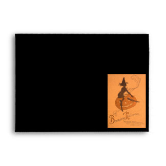Jack O Lantern Pumpkin Witch Silhouette Envelope