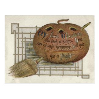 Jack O' Lantern Pumpkin Witch's Broom Postcard