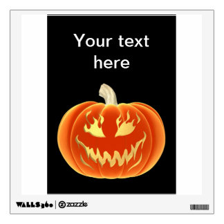 Jack o lantern pumpkin with flames of fire wall decal