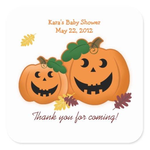 Jack O Lantern Pumpkins Baby Shower Favor Sticker