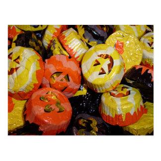 Jack O Lantern Pumpkins Foil Candy Postcard