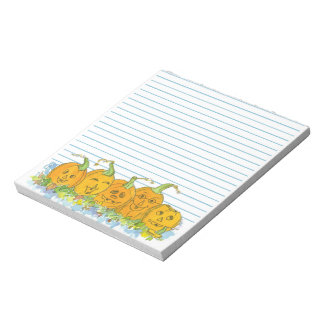 Jack-O-Lantern Pumpkins Halloween Watercolor Lined Notepad