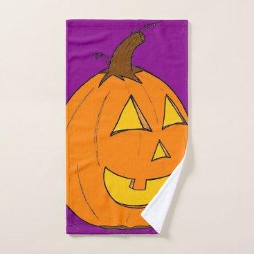 Halloween Themed Jack o' Lantern Purple Hand Towel