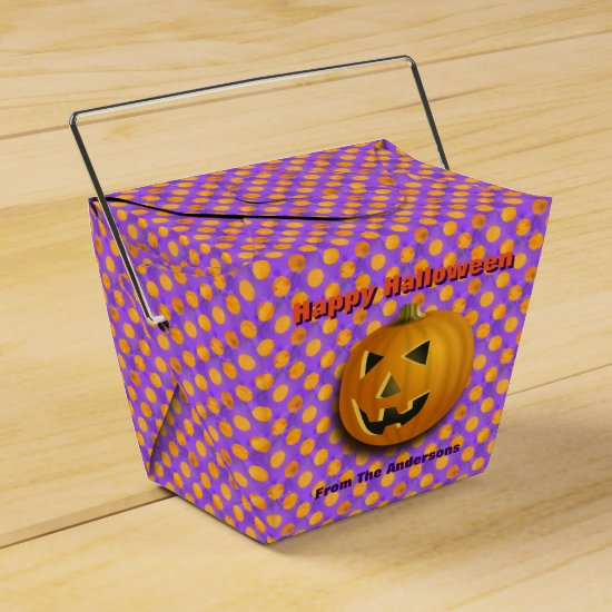 Jack-O-Lantern, Purple & Orange Polka Dots Favor Box