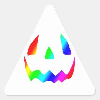 Jack O' Lantern Rainbow Face Triangle Sticker