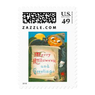 Jack O Lantern Scarecrow Black Cat Moon Postage Stamp