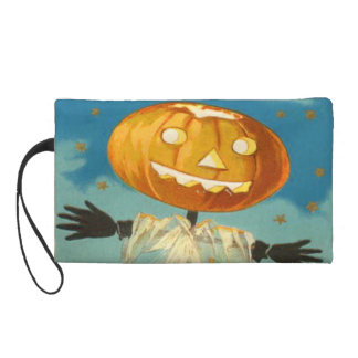 Jack O Lantern Scarecrow Stars Pumpkin Wristlet Purse