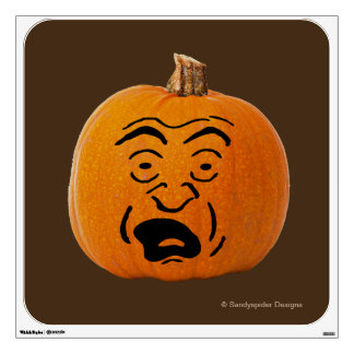 Jack o' Lantern Scared Face, Halloween Pumpkin Wall Decal