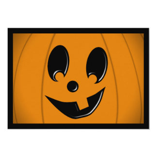 Jack-O-Lantern Silly Face with One Tooth 5x7 Paper Invitation Card