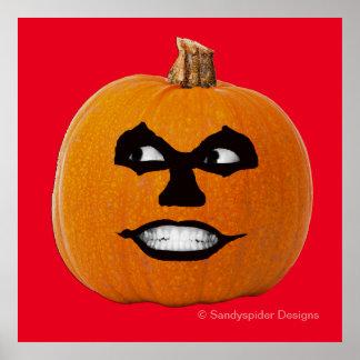 Jack o' Lantern Sinister Face, Halloween Pumpkin Poster