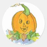 Jack-O-Lantern Stickers Pumpkin Watercolor Art