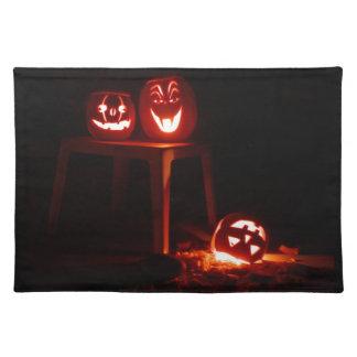 Jack o lantern trio cloth placemat