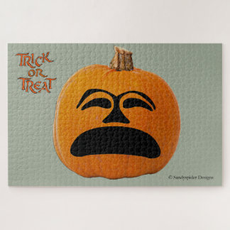 Jack o' Lantern Unhappy Face, Halloween Pumpkin Jigsaw Puzzle