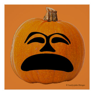 Jack o' Lantern Unhappy Face, Halloween Pumpkin Poster