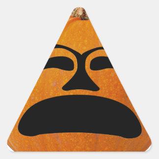 Jack o' Lantern Unhappy Face, Halloween Pumpkin Triangle Sticker