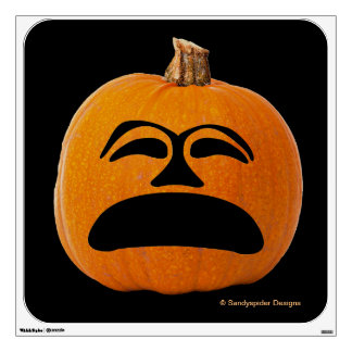 Jack o' Lantern Unhappy Face, Halloween Pumpkin Wall Decal