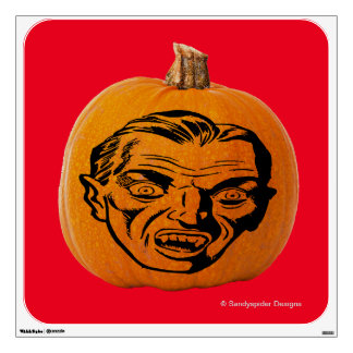 Jack o' Lantern Vampire Face, Halloween Pumpkin Wall Decal