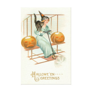 Jack O' Lantern Witch Black Cat Airplane Canvas Print