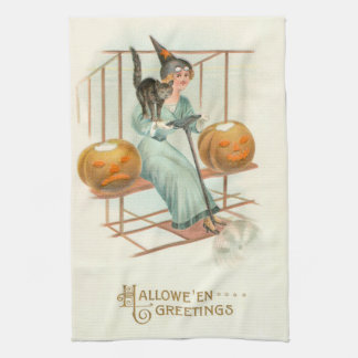 Jack O' Lantern Witch Black Cat Airplane Kitchen Towel