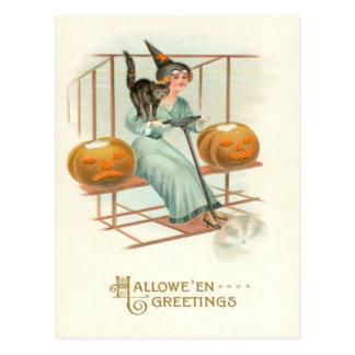 Jack O' Lantern Witch Black Cat Airplane Postcard