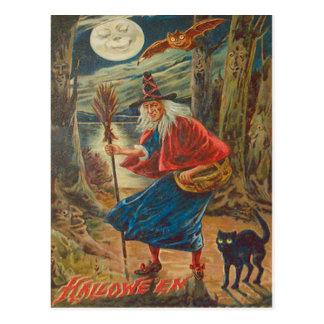 Jack O Lantern Witch Black Cat Bat Moon Postcard