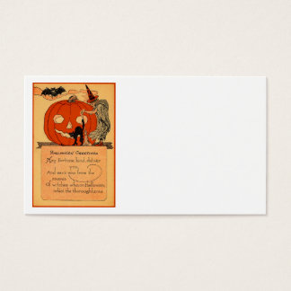 Jack O Lantern Witch Black Cat Bat Vintage Business Card