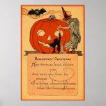 Jack O Lantern Witch Black Cat Bat Vintage Poster