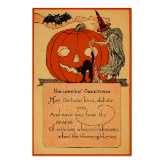 Jack O Lantern Witch Black Cat Bat Vintage Poster