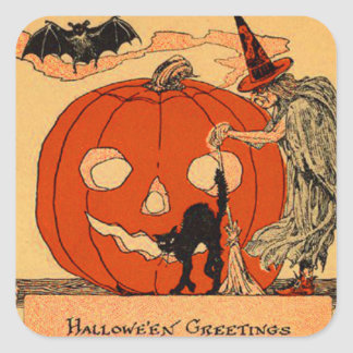Jack O Lantern Witch Black Cat Bat Vintage Square Sticker