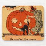 "Jack O Lantern Witch Black Cat Vintage Halloween Mouse Pad<br><div class=""desc"">Vintage Halloween print</div>"