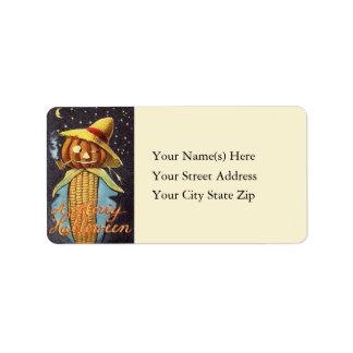 Jack O Lantern With Corn Body Address Label